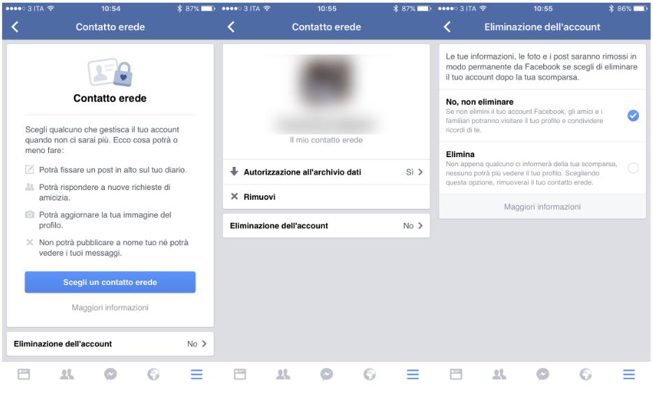 FB e Contatto Erede